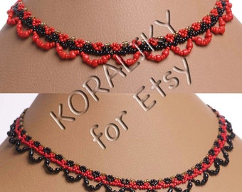 RED /Black /Gold or BLACK /Red /Gold. Traditional Ukrainian Folk Handmade Jewelry Glass Beads Beaded Gerdan.