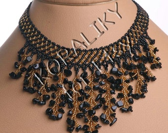Modern Handmade Jewelry Beaded Necklace Waterfall Gerdan Black /Gold With Black Agate Stones