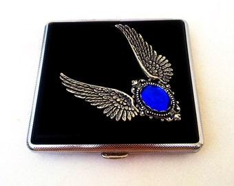 Gothic Cigarette Case Black Cigarette Case Blue Stone Angel Wings Gothic Accessories Victorian Gothic Jewelry