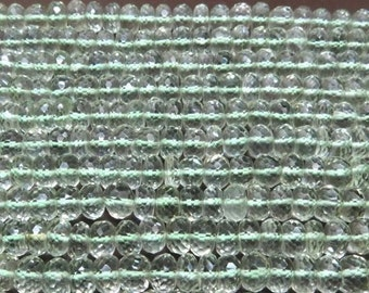 "Green Amethyst Beads 6"" Full Strand Drilled 3.5-4mm Rondelle Semiprecious Faceted Gemstone Beads Take 10% Off Bridal Jewelry Supplies Sale"