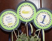 PREPPY CHEVRON ALLIGATOR Happy Birthday or Baby Shower Centerpiece Sticks {Set of 3} Lime Green Navy - Party Packs Available