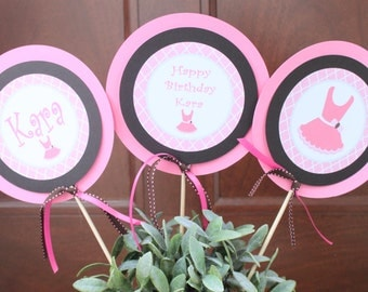 TUTU CUTE  Happy Birthday Party or Baby Shower Centerpiece Sticks [Set o{f 3] Pink Brown - Party Packs Available