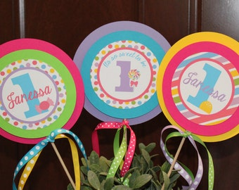 SWEET SHOPPE Party Happy Birthday Party or Baby Shower Centerpiece Sticks Set of 3