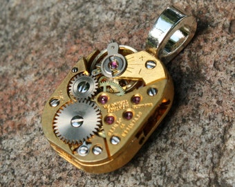 Steampunk Watch Pendant, Two Tone Recycled Watch Pendant, Steampunk Recycled Watch Pendant