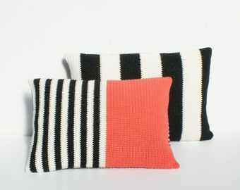 Striped black and cream with orange crochet cushion/pillow