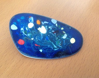 Vintage enamel on copper abstract brooch