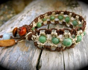 Amazing Amazonite and Wood Organic Hemp Healing Cuff Bracelet