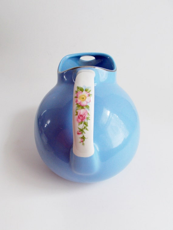Vintage Hall's Ball Pitcher Cadet Blue Royal Rose