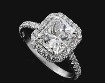 Radiant Cut Halo Modern Contemporary Style Platinum 950 Engagement Ring Setting Mounting No Center Stone