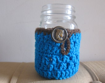 Turquoise Crocheted Canning Jar Cozy with Vintage Button, Blue Pint Jar Cozy, Crocheted Cozy for Canning Jar, Crocheted Canning Jar Cozies