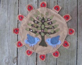 Bluebirds Tree of Life Penny Rug