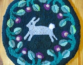 Little Grey Hare Hooked Rug