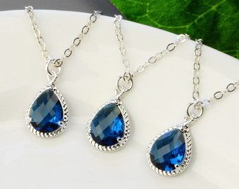 Navy Blue Necklace SET OF 3 - 5% OFF Bridesmaid Jewelry Set - Sapphire Blue Bridesmaid Necklace - Silver Blue Glass Pendant Necklace