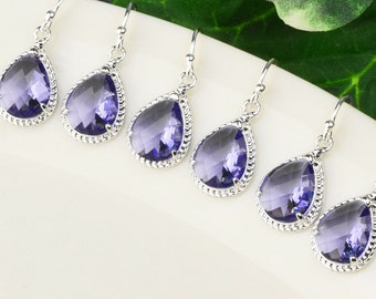 Bridesmaid Jewelry Set - 10% OFF Bridemaid Earrings SET OF 5 pairs - Light Purple Tanzanite Silver Drop Earrings - Wedding - Bridal Jewelry
