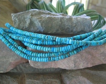 Natural Turquoise Sleeping Beauty Gorgeous Blue 5mm Tire Beads 16""
