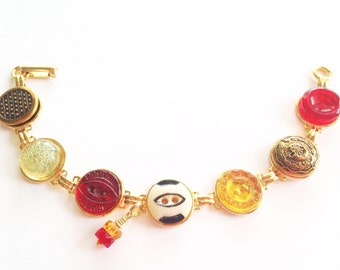 San Francisco 49ers football antique button bracelet, red & gold, 1800s buttons