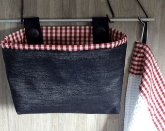 Fabric wall organizer and dish towel  - Kitchen storage - OOAK - home decoration - gingham & jeans - gift