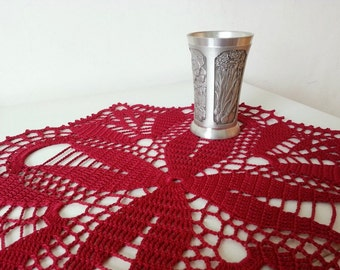 Crochet Tablecloth Red Flower Pattern Cardinal Square Like Lace Table Topper Centerpiece Unique Gifts Home Decor