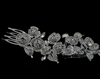 Bridal Hair Comb - Clear Rhinestone Crystal bridal hair comb