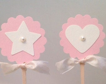 Baby Girl Cupcake Toppers Pink Heart Star Cupcake Food Candy Picks Labels-Birthday Cupcake Toppers