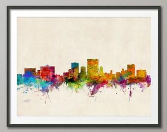 El Paso Skyline, El Paso Texas Cityscape Art Print (249)