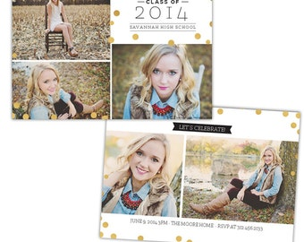 INSTANT DOWNLOAD - Graduation announcement - Photoshop Templates - E1023