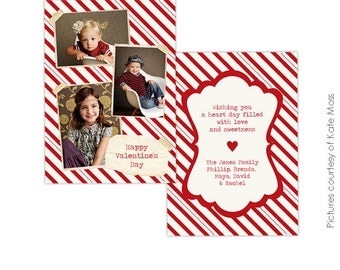 INSTANT DOWNLOAD - Valentine Card Photoshop Template - Sharing love- E282