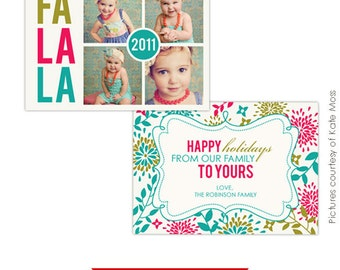 INSTANT DOWNLOAD - Psd Holiday Card Template - Fa la la - E209