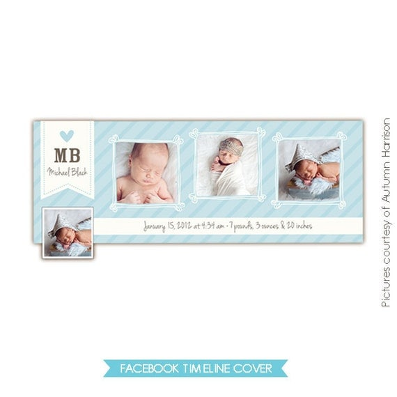 INSTANT DOWNLOAD  - Birth Announcement FB Timeline Cover - E390
