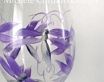 Purple Silver Dragon Fly Painted Wineglass - 1 Wine Glass