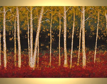 """Autumn Aspen Trees 24""""x12"""" Fall Birch Trees Red Leaves Fall Colors Acrylic Canvas Painting"""