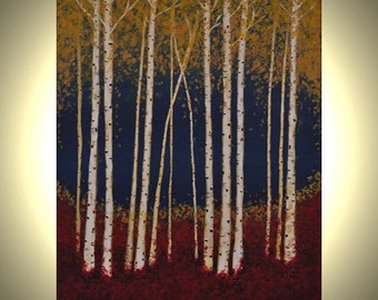 """Aspen Trees 16""""x20"""" Fall Birch Trees Red Leaves Fall Colors Acrylic Canvas Painting"""