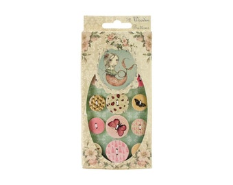 Santoro 12 Wooden Buttons, Pinks, Butterfly, Hearts, Stripes, Flowers, Solids