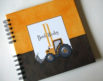 Baby Book |  Baby Memory Album | Construction - Yellow & Brown Tractor -  Wire Bound Baby Memory Book