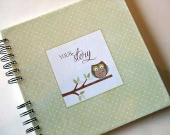 Baby Book    Baby Memory Album   Green Polka dot - Owl on Branch -  Wire Bound Baby Memory Book