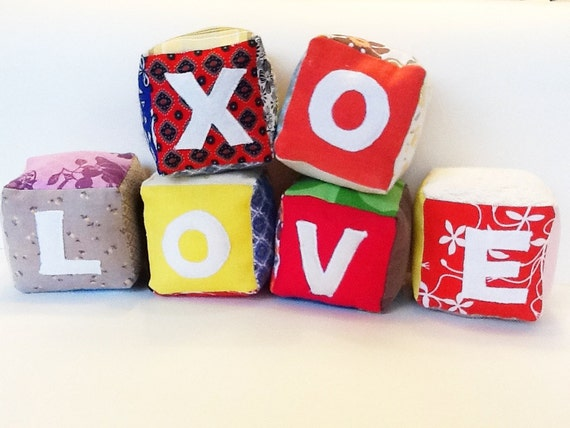 Alphabet Blocks - toys for decor, play, learning and development - handmade for children and babies