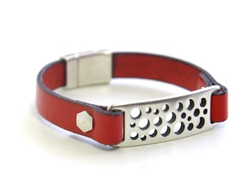 Leather Bracelet, Red leather, Decorative Silver magnetic clasp, Modern, Casual, Jewelry, Valentines day