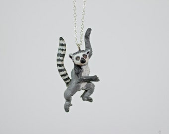 Jumping Ringtail Lemur Necklace - Sterling Silver, Hand Sculpted - Made To Order
