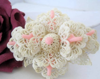 Lacy Celluloid Brooch Carved Coral Pin