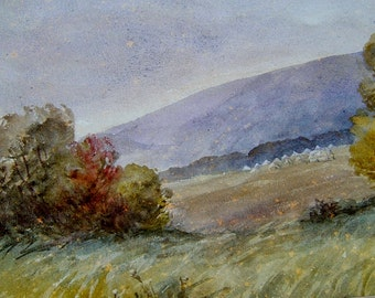 Vintage Art 1980s Vintage Watercolor Painting OOAK Painting Vintage Landscape Painting of the English Countryside Signed HS Anson