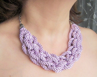 FREE SHIPPING. Lavender  knot necklace. Silk rope.