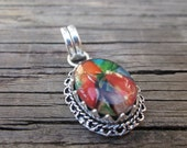 Vintage Colorful Dichroic Glass and Sterling Silver Pendant