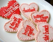 Conversation Heart Sugar Cookies Iced Pink Red Heart Decorated Cookies Valentines - SugarMeDesserterie