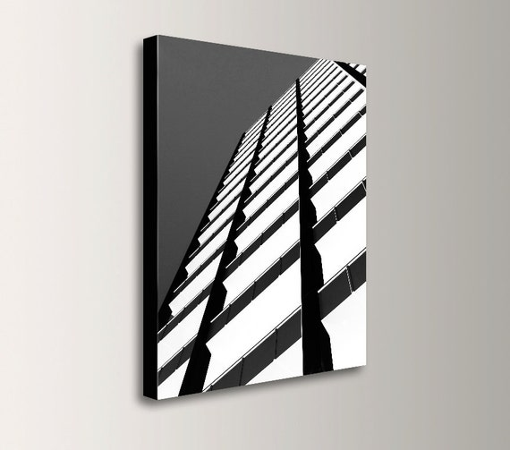 "Black and White Photography - Canvas Print - Abstract Urban Art - Architectural Photography - "" Angle """