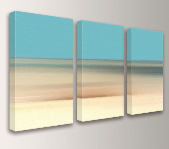 "Landscape Painting - Canvas Print - Triptych Beach Decor - 3 Panel Art - Teal and Cream Art Split - Modern Coastal Home Decor - ""Coastline"""