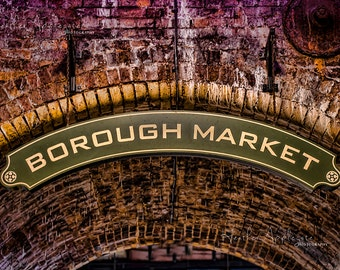 Gallery Wrap Canvas - Borough Market Signs and Gate Photograph Black & White or Color