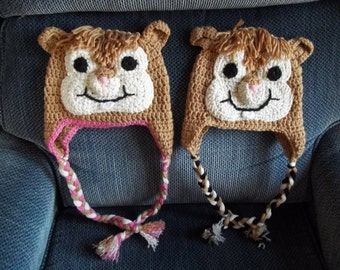 Crocheted Chipmunk Hats, Photo Prop, Christmas Gift, Character Hat