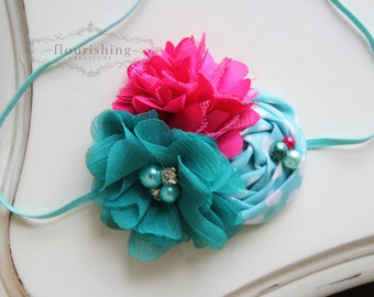 Hot Pink, Aqua and Teal headband, baby headbands, hot pink headbands, newborn headbands, summer headbands, photography prop
