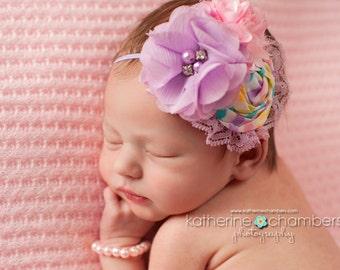 SPRING FLING- Lavender and Pink flower headbands, spring headbands, lace headbands, newborn headbands, photography prop
