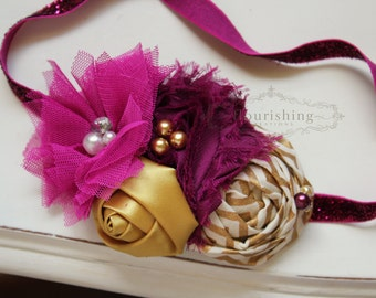Fuchsia and Gold headband, baby headbands, newborn headbands, fuchsia headbands, gold headbands,  photography prop